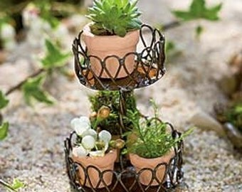 Miniature Fairy Garden Wire Planter Flower Holder with Pots