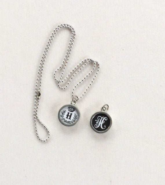 items similar to charm necklace initial letter h i n d