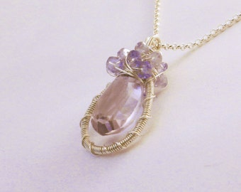 Wire Wrapped Gemstone Pendant -- Amethyst, Tanzanite, Sterling Silver Necklace