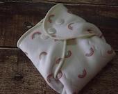 Organic Cotton Winged Prefold Cloth Diaper-- Rainbows