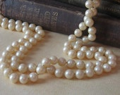 "Long Strand Pearls, Faux Pearl Necklace, 60"" pearl necklace, glass pearl necklace, childs pearl necklace, photo prop"