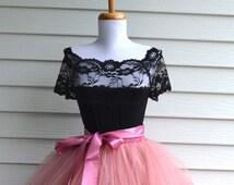 Black Lace Blouse, black lace shirt, French ballet neck blouse, Short sleeved lace shirt, boho shirt, boat neck black lace top