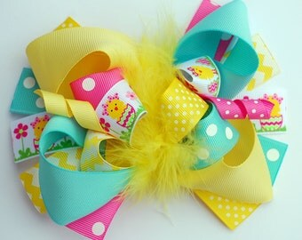 boutique AQUA yellow hot PINK easter CHICK funky fun bow on clip or headband