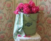 vintage old green painted wooden bucket, american rustic country prairie farm house charm, flower bucket, timeworn, chic chippy jadite paint