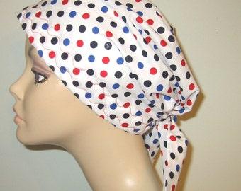 Multicolored Polka Dots  Scrub Hat, Cancer, Chemo Hat, Turban, Hair Loss, Alopecia
