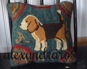Custom Hand~Hooked Wool Balsam Dog Pillow In Primitive Style