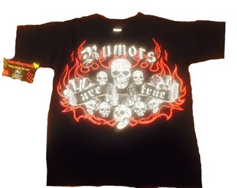 nwt black toddler or big kids tee of skulls and flames with wording rumors are true