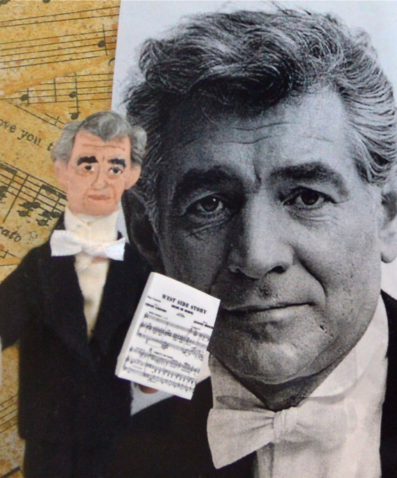 Leonard Bernstein Doll Miniature Composer Musical Writer Art for Musician
