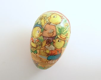 Vintage Easter Egg Paper Mache Candy Container Chick Band Easter Decoration Western Germany