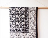 ON SALE Block Printed Coverlet - indian cotton, paisley, black and white