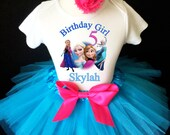 Frozen Elsa Anna Princess Pink Blue 5th Fifth Girl Birthday Tutu Outfit Custom Personalized Name Age Party Shirt Set