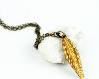 Bohemian jewelry Long feather necklace - bohemian layering necklace, boho chic necklace, long layering necklace, festival style