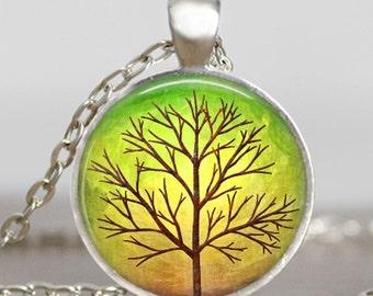 Tree painting art necklace , fall tree necklace, yellow green  tree nature jewelry,  holidays gift idea  ,mom , mother, grandma ,nana gift