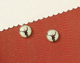 Sale - 10pcs handmade vintage style deer round glass dome cabochons 12mm (12-0327)