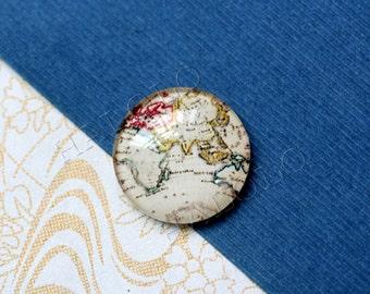 4pcs handmade world map the earth glass cabochons 25mm (250678)