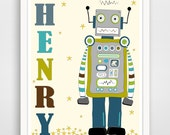 Personalized Children's Wall Art / Robot on Planet with Child's name Poster Print