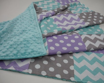 Chevrons and Dots in Lavender Aqua and Gray Minky Comforter Blanket You Choose Size MADE TO ORDER