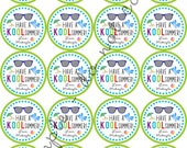 "Have a Kool Summer 2"" PERSONALIZED printable Party Circles / Cupcake Topper / Stickers / Thank You Tags"