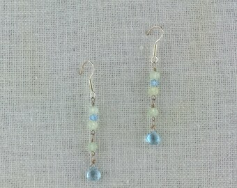 Prehnite and Sky Blue Topaz Earrings