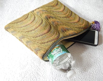 Upholstery pouch,  green multi pouch, zipper pouch, lined clutch, tapestry purse, fashion accessory, womens accessory