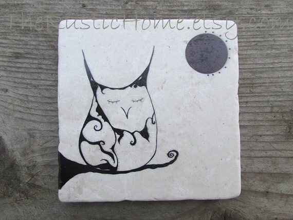 The owl queen rustic owl coasters marble stone tile coaster made to order individually 4x4