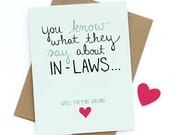Mothers Day Card - Mother In Law Card - Inlaw Card - You Know What They Say