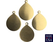 1 Loop Dapped Raw Brass Teardrop Pendant Findings 22x17mm (8) mtl446A