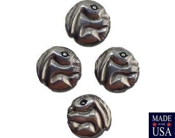 Silver Plated Round Rabbit Beads 14mm (4) gyb049A