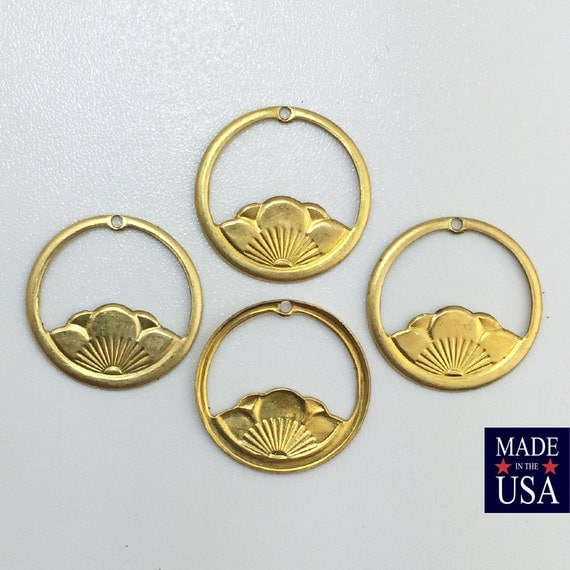 Small Brass Lotus Flower Hoops Charms 20mm (4) mtl036B