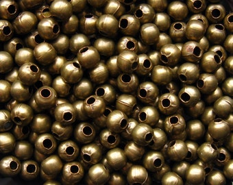 4mm Bronze Spacer Beads - Over 200 - 4mm Round Bronze Beads, Antique Bronze Beads, 4mm Antique Brass Beads, Nickle Free (GBD0008)