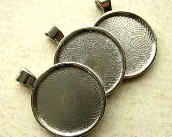 SALE - Platinum Pendant Tray Cabochon Setting - Set of 4 - Dark Silver Finish - Fits 25mm Round Cab (SFD0019)