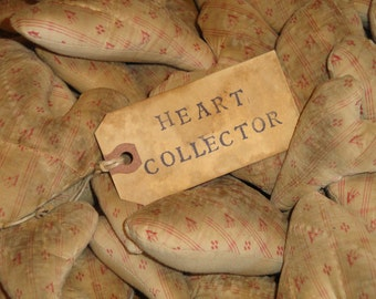 Old Quilt Hearts | Antique Quilt Hearts | Primitive Hearts | Repuposed Hearts | Set Of 4