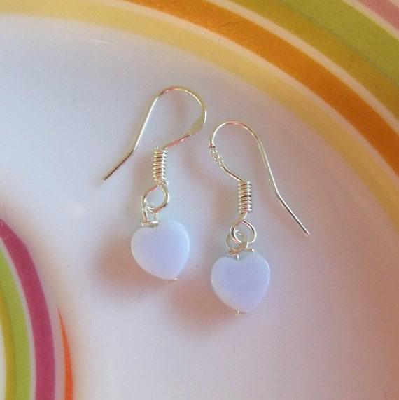 Blue Lace Agate Mini Heart Drop earrings