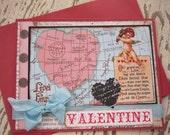 Valentine Card, Handmade Valentine, Victorian Valentine, Valentines Day, Vintage, Red, Map, Cupid, Angel, Love, Handmade Card, ofg team