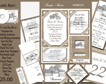 Rustic Barn and Burlap Wedding Invitation Kit on CD