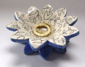 floral pottery Ring Dish for blue kitchen decor, candle holder, dresser dish, delphinium bathroom