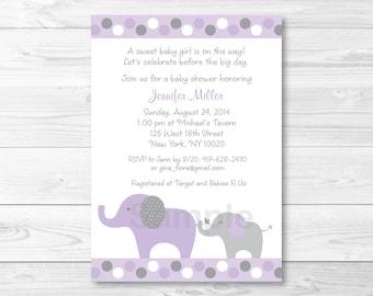 Purple Elephant Baby Shower Invitation PRINTABLE