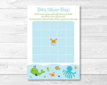 Cute Under The Sea Baby Shower Bingo Game / Under The Sea Baby Shower / Blue Under The Sea / Baby Boy Shower / Printable INSTANT DOWNLOAD