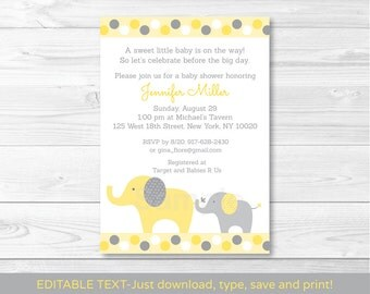 Yellow & Grey Elephant Baby Shower Invitation / Gender Neutral / INSTANT DOWNLOAD Editable PDF