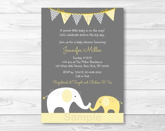 Cute Elephant Baby Shower Invitation / Elephant Baby Shower Invite / Chevron Pattern / Yellow & Grey / Gender Neutral / PRINTABLE