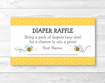 Bumble Bee Diaper Raffle Tickets INSTANT DOWNLOAD