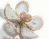 blush pink and white beaded flower hair clip, fascinator,  French beaded flowers