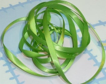 JASMINE GREEN DouBLe FaCeD SaTiN RiBBoN, Polyester 1/4 inch wide, 5 Yards