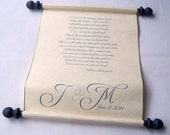 Personalized wedding vows paper scroll with monogram, on parchment, wide