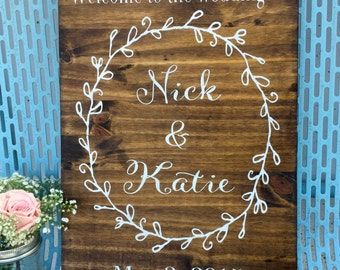 Welcome to our wedding sign names and date customizable