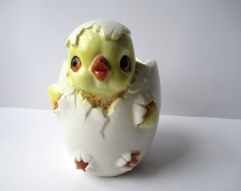 Vintage Ceramic Chick and Egg Planter/Vase - Kitsch and Cute