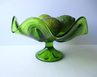 Vintage Viking Epic Line Avocado Green Pedestal Dish