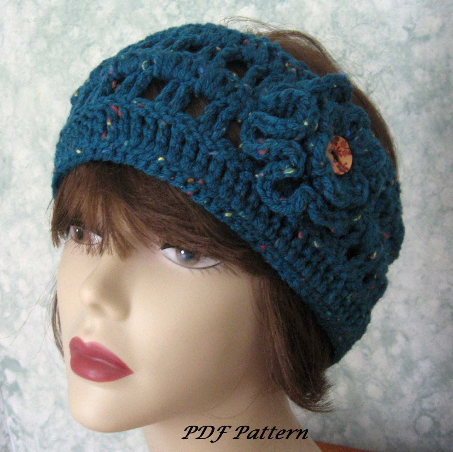 Womens Crochet Headband Ear Warmer With Double Flower And