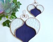Handmade Stained Glass Valentine's Day Purple Hearts Sun Catcher