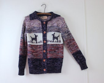 1980s Kickers cardigan sweater with alpacas, lamas, or deers - vintage size medium - multicolored knit lilac, tan, ivory, dark blue, and red